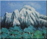 Snow Mountain, Green Tree and Blue Sky Oil Painting Landscape Impressionism 20 x 24 inches