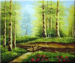 Yellow Aspen Forest and Snow Mountain Impression Oil Painting Landscape Tree Naturalism 20 x 24 inches