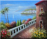Mediterranean Seaside Walkway of A Village Oil Painting Naturalism 20 x 24 inches