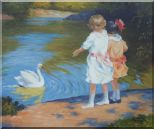 Girls and Swan, Edward Henry Potthast Reproduction Oil Painting Portraits Child Impressionism 20 x 24 inches