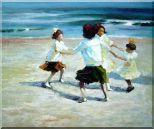 Ring Around the Rosy Oil Painting Portraits Child Impressionism 20 x 24 inches