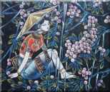 A Girl Relaxes in a Fruit Garden - Contemporary Oil Painting Portraits Woman Asian 20 x 24 inches