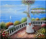 Mediterranean Retreat with Infinity Views Oil Painting Naturalism 20 x 24 inches