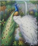 Blue and White Peacocks, Tree, Waterfall Oil Painting Animal Naturalism 24 x 20 inches