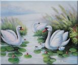 Swan Family on Waterlily Pond Oil Painting Animal Naturalism 20 x 24 inches