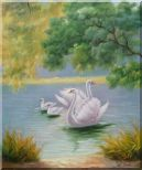 White Swan Family in Beautiful Lake Oil Painting Animal Classic 24 x 20 inches