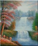Two Spectacular Waterfalls in Forest Oil Painting Landscape Naturalism 24 x 20 inches