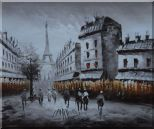 Paris Street with Eiffel Tower in Black and White Oil Painting Cityscape Impressionism 20 x 24 inches
