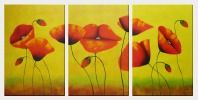 Blooming Red Poppies - 3 Canvas Set Oil Painting Flower Decorative 36 x 72 inches