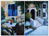 A Charming Backyard Oil Painting - 2 Canvas Set Garden Italy Impressionism 72 x 96 inches