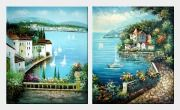 Mediterranean Memory - 2 Canvas Set Oil Painting Naturalism 24 x 40 inches