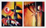Composition of  Red, Yellow and Black Forms - 2 Canvas Set  24 x 40 inches