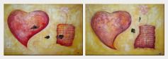 Love Brings Happy and Joys - 2 Canvas Set Oil Painting Nonobjective Decorative 24 x 72 inches