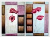 Pink Poppies in White, Pink and Brown Setting - 2 Canvas Set Oil Painting Still Life Flower Decorative 36 x 48 inches