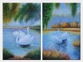 Pair of Swans in Lake - 2 Canvas Set Oil Painting Animal Naturalism 36 x 48 inches