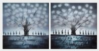 Gleaming Gray Tree - 2 Canvas Set Oil Painting Landscape Decorative 30 x 60 inches