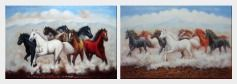 Eight Running Mustang Horses - 2 Canvas Set  24 x 72 inches