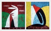 Rabbits - 2 Canvas Set Oil Painting Animal Modern 24 x 40 inches