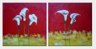 White Calla Lilies In Red and Yellow Setting - 2 Canvas Set Oil Painting Flower Lily Decorative 24 x 48 inches