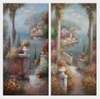 Large Beautiful Coast Pillar Flower Patio Garden in Mediterranean - 2 Canvas Set Oil Painting Naturalism 48 x 48 inches