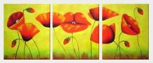 Blooming Red Poppies - 3 Canvas Set Oil Painting Flower Decorative 24 x 60 inches
