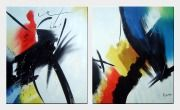 Majestic - 2 Canvas Set Oil Painting Flower Modern 24 x 40 inches