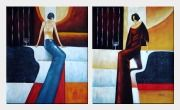 City Girls - 2 Canvas Set Oil Painting Portraits Woman Decorative 24 x 40 inches