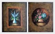 Flowers in Vase on Brown Background - 2 Canvas Set Oil Painting Still Life Decorative 24 x 40 inches