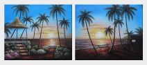 Hawaii Beach with Palm Trees on Sunset - 2 Canvas Set Oil Painting Seascape America Naturalism 20 x 48 inches