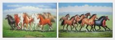 Eight Joyful Running Horses in Green Field - 2 Canvas Set Oil Painting Animal Naturalism 24 x 72 inches