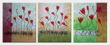 Dancing Merrily Red Flowers - 3 Canvas Set Oil Painting Decorative 24 x 60 inches