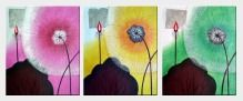 Lotuses - Flower of Summer - 3 Canvas Set Oil Painting Asian 24 x 60 inches