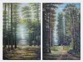 In Tranquil Forest - 2 Canvas Set Oil Painting Landscape Tree Classic 36 x 48 inches