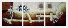 Decorative Splitted Paintings - 3 Canvas Set Oil Nonobjective 24 x 60 inches