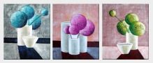 Still Life Geometric Objects of Balls and Cylinders - 3 Canvas Set Oil Painting Decorative 24 x 60 inches