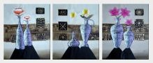 Flowers in Vases - 3 Canvas Set Oil Painting Still Life Decorative 24 x 60 inches
