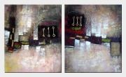 Plain And Harmony - 2 Canvas Set Oil Painting Nonobjective Decorative 24 x 40 inches