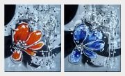 Red and Blue Flowers - 2 Canvas Set Oil Painting Orchid Decorative 24 x 40 inches