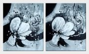 Two Canvas Black White Flower Paintings - 2 Canvas Set  24 x 40 inches