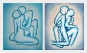 Lovers - 2 Canvas Set Oil Painting Portraits Couple Modern 24 x 40 inches