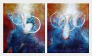 Five Rings on Two Panel - 2 Canvas Set Oil Painting Nonobjective Decorative 24 x 40 inches