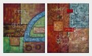 Abstract Warm Forms with Cool Highlighter - 2 Canvas Set Oil Painting Nonobjective Decorative 24 x 40 inches