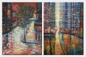Urban Street Scenes At Night - 2 Canvas Set  40 x 60 inches