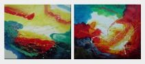 Splendid World - 2 Canvas Set Oil Painting Nonobjective Decorative 20 x 48 inches