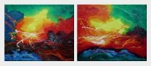 The Beauty of the World - 2 Canvas Set Oil Painting Nonobjective Decorative 20 x 48 inches