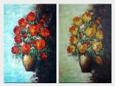 Red and Orange Roses in Vases - 2 Canvas Set Oil Painting Flower Still Life Bouquet Naturalism 36 x 48 inches
