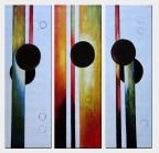 Decorative Black Circles and Strips - 3 Canvas Set Oil Painting Nonobjective 48 x 48 inches