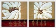 Pair of White Flowers - 2 Canvas Set Oil Painting Daisy Modern 28 x 56 inches