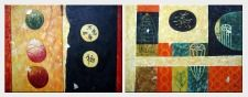Lucky Textured Modern Oil Painting - 2 Canvas Set Nonobjective 30 x 80 inches