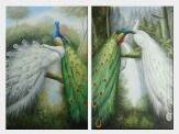 Beautiful Blue and White Peacocks - 2 Canvas Set Oil Painting Animal Naturalism 36 x 48 inches